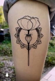 大腿黑色线条简约花朵纹身图案
