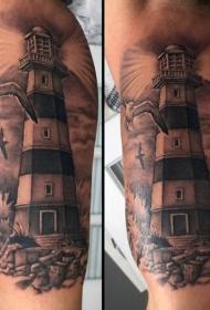 大臂黑灰风格灯塔与海鸥纹身图案