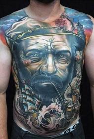 胸部和腹部彩色吸烟水手和帆船纹身图案