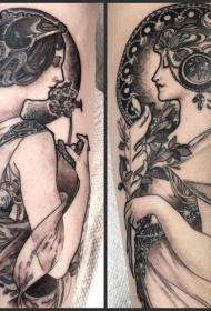 手臂好看的黑色女人肖像纹身图案