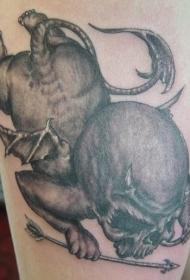 令人毛骨悚然的黑色恶魔天使纹身图案