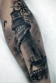 小腿黑灰有趣的灯塔和小型车纹身图案