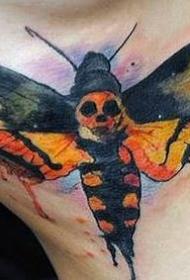 侧肋水彩画风格蝴蝶骷髅纹身图案