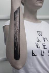 小臂个性独特的黑色大木棍纹身图案