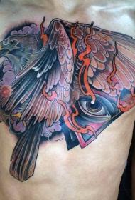 胸部神秘几何眼睛鹰纹身图案