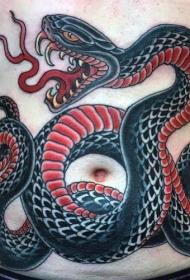 腹部old school黑色和红色疯狂蛇纹身图案