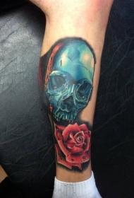 小腿蓝色铁骷髅与玫瑰纹身图案