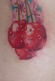 樱桃和逼真的樱桃纹身图案