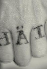 手指黑色字母纹身图案