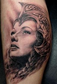 黑灰风格身凯尔特女性头盔纹身图案