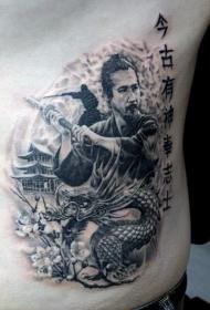 侧肋黑色武士与龙和汉字纹身图案