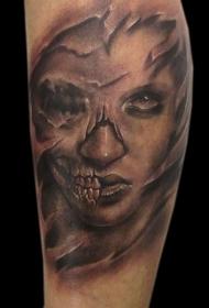 小臂骷髅女性肖像纹身图案