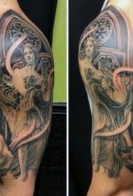 大臂old school黑白雕像蜡烛和鲜花纹身图案