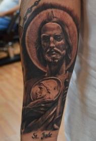 小臂黑灰风格耶稣肖像纹身图案