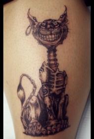 疯狂的骨骼猫纹身图案
