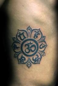侧肋黑色印度教主题字符纹身图案