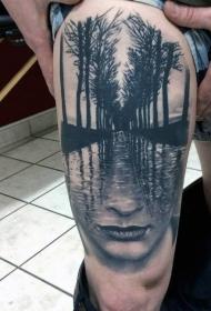 大腿黑色神秘水与女人肖像树林纹身图案