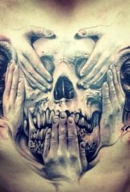 胸部自然神秘骷髅与手纹身图案
