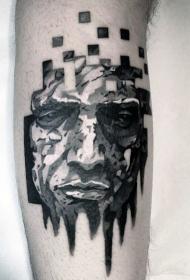 小腿插图风格黑白男人肖像纹身图案