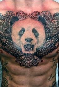 胸部熊猫头像匕首和梵花纹身图案