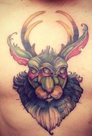 胸部彩色幻想半兔半鹿头部纹身图案