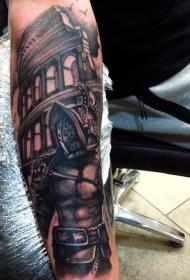 手臂黑白古怪的角斗士在罗马竞技场纹身图案