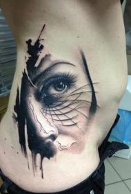 侧肋逼真的女性脸部纹身图案