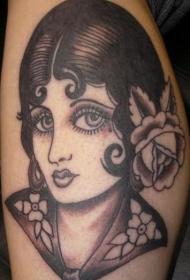 old school黑灰手绘女孩肖像纹身图案