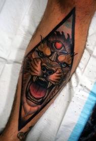 小腿new school黑色恶魔狮子与黑三角纹身图案