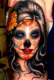大臂彩绘黑发死亡女郎纹身图案