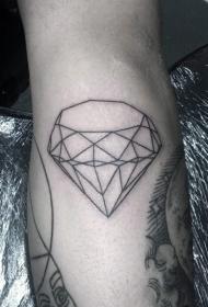 小腿简约黑色线条轮廓钻石纹身图案