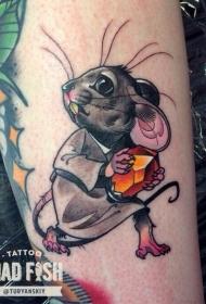 彩色的老鼠偷钻石卡通纹身图案