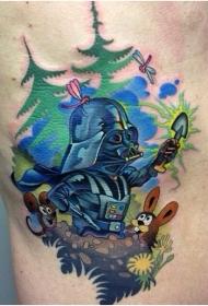 森林边的达斯维德和动物彩色卡通纹身图案