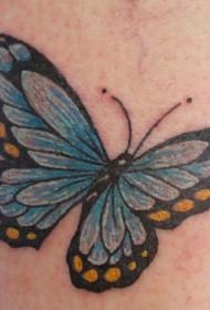 写实的蓝色蝴蝶纹身图案