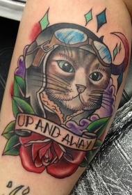 小腿new school搞笑猫腿与玫瑰和字母纹身图案