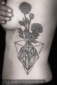 侧肋几何主题黑色花卉与钻石纹身图案