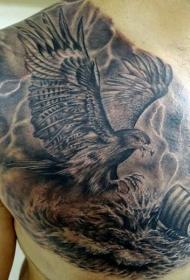 胸部老鹰攻击船和雷电海浪纹身图案