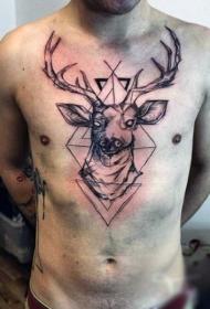 胸部素描风格黑色神秘鹿与几何饰品纹身图案