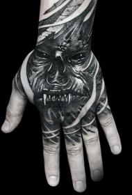恐怖风格黑色怪物脸手背纹身图案
