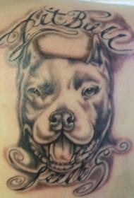斗牛梗犬和字母黑色纹身图案