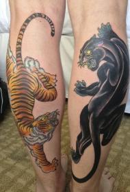 黑豹和老虎小腿纹身图案