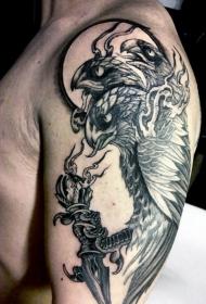 手臂old school不寻常的黑色鹰匕首纹身图案