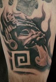 黑灰风格滑稽的石像和符号纹身图案