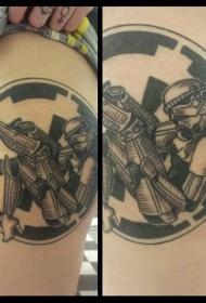 圆形的性感风暴骑兵女人纹身图案