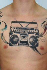 彩色胸部和肩膀收音机毛线相机纹身图案