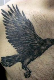 胸部黑灰飞行乌鸦纹身图案