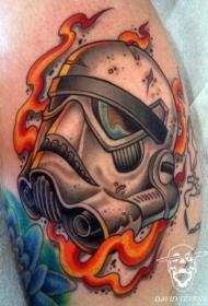 漂亮的卡通风暴骑兵和火焰纹身图案