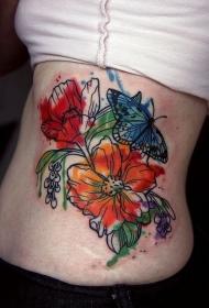 侧肋水墨彩色花朵与蝴蝶纹身图案