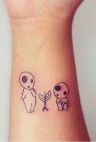 手腕黑色可爱的小怪物纹身图案