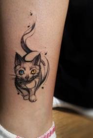 小腿水彩风格彩色可爱猫纹身图案